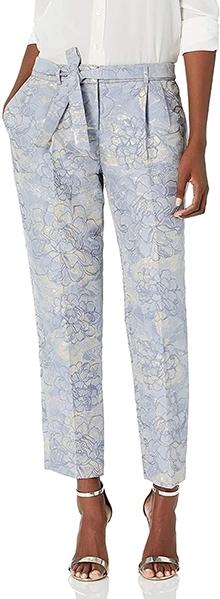 Tahari ASL Women's Floral Jaquard Ankle Pants | 40plusstyle.com