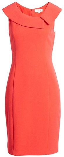 Harper Rose envelope collar crepe sheath dress | 40plusstyle.com