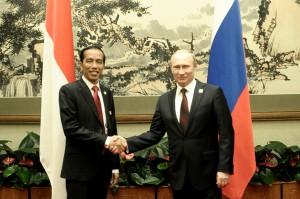 Presiden Jokowi bertemu Presiden Rusia Vladimir Putin, di sela-sela KTT APEC, di Beijing, Senin (10/11)