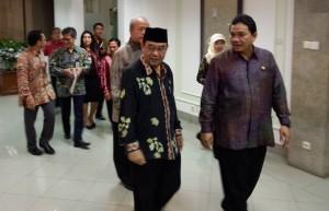 Pimpinan BPK seusai diterima Presiden Jokowi di kantor Presiden, Jakarta, Rabu (3/12)