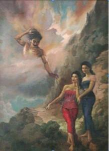Foto.1: Gatutkaca dan Anak-anak Arjuna (Pergiwa dan Pergiwati), Basoeki Abdullah (1956),  150 x 100 cm  (Sumber: Bagian Pengelolaan  Seni Budaya dan Tata Graha, Sekretariat Presiden)