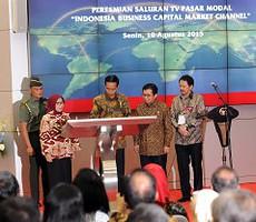 Presiden Jokowi didampingi Ketua OJK Muliaman Hadad meresmikan TV Pasar Modal, di Bursa Efek Indonesia Jakarta, Senin (10/8)