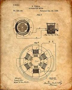 imagen de la patente del motor de corriente alterna de Nikola Tesla