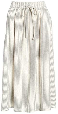 Caslon tie waist linen blend midi skirt | 40plusstyle.com