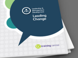 Image shows a close up of the cover of the workbook for Training Central's Leading Change training materials.