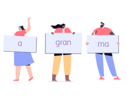Image shows illustration of three people holding up signs, playing the energiser Anagram Names. The signs spell out the Anagram 'A Gran Ma'.