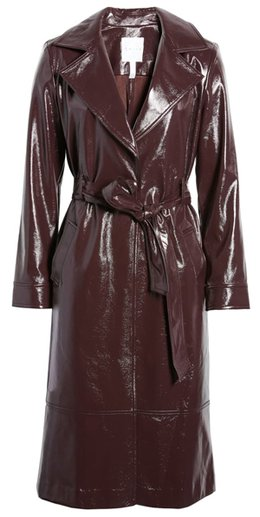 Leith Faux Patent Leather Trench Coat   40plusstyle.com