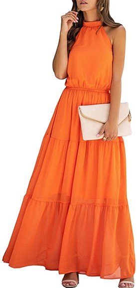 PRETTYGARDEN halter neck maxi dress | 40plusstyle.com