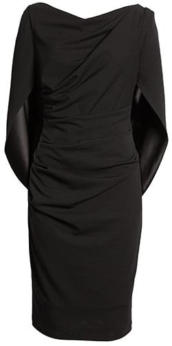 Wardrobe essentials - Betsy & Adam drape back scuba crepe cocktail dress   40plusstyle.com