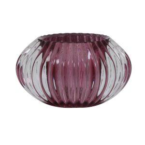 Light & Living theelicht Pertu glas helder paars Ø11x6,5 cm