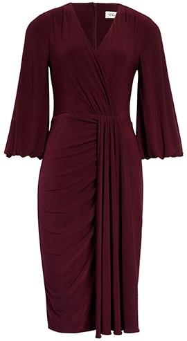 Wardrobe essentials - Eliza J wrap look dress   40plusstyle.com