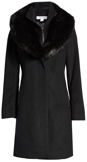 Via Spiga faux fur collar wool blend coat   40plusstyle.com