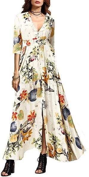 Milumia button-up floral maxi dress | 40plusstyle.com