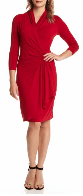 Karen Kane faux wrap dress   40plusstyle.com