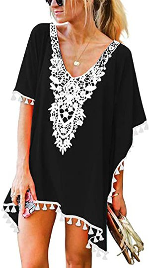 CPOKRTWSO Tassel Swimsuit Cover Up   40plusstyle.com