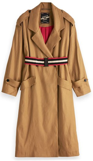 Scotch & Soda Belted Linen Blend Trench Coat   40plusstyle.com