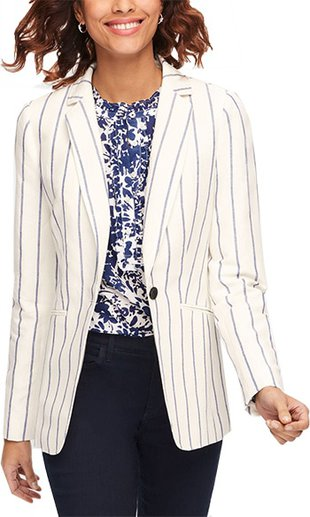 Tablots stripe linen blazer | 40plusstyle.com