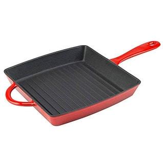 9. Zelancio Cookware Enameled Cast Iron Grill Pan