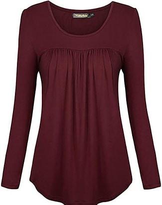 Yidarton scoop neck pleated blouse   40plusstyle.com