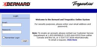 Screen capture showing the Bernard and Tregaskiss MyWeldOrder distributor portal