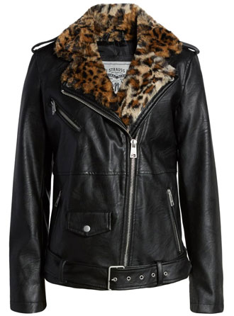 best leather jackets for women: Levi's oversize faux leather moto jacket with faux fur trim | 40plusstyle.com