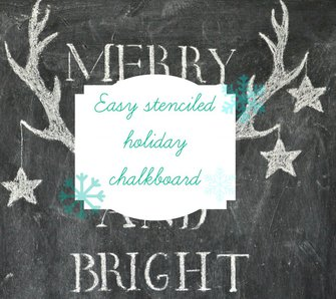 stenciled holiday chalkboard