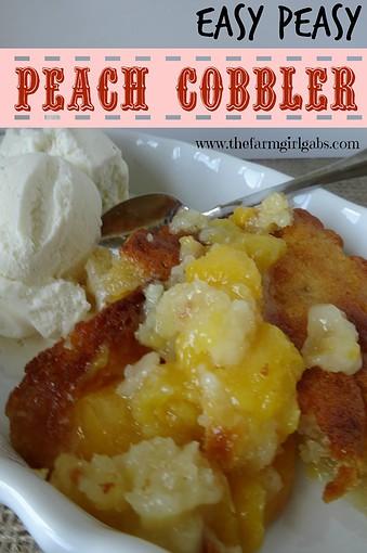 Easy Peasy Peach Cobbler-Pinterest