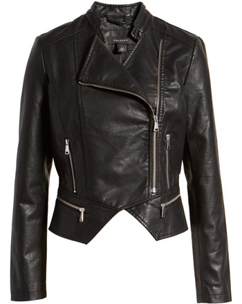 Halogen peplum faux leather moto jacket | 40plusstyle.com