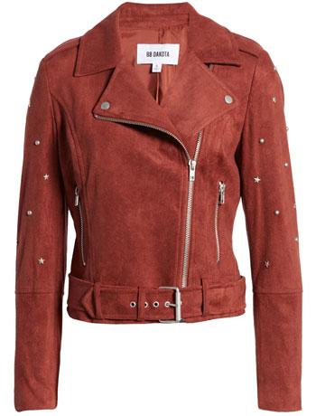 best leather jackets for women: BB Dakota faux suede moto jacket | 40plusstyle.com