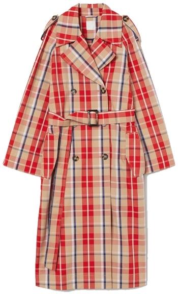 H&M Plaid Cotton Trench Coat   40plusstyle.com