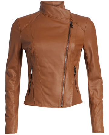 Andrew Marc stand collar leather jacket | 40plusstyle.com