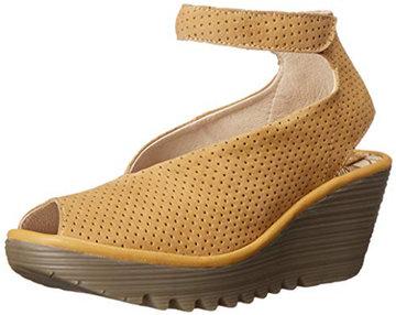 Comfortable Heels - FLY London Women's Yala Perforated Wedge Sandal | 40plusstyle,com