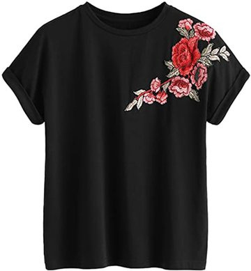 Tops to hide your tummy - Romwe floral embroidery cuffed tee   40plusstyle.com