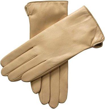 WarMen cashmere & wool blend lining leather gloves