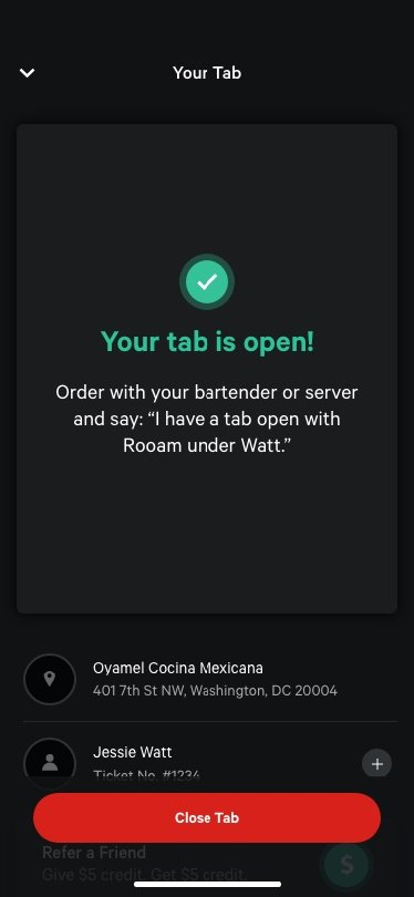 Tab is opened in your phone for restaurant payments