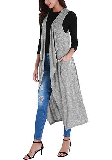 Long black sleeveless vest styles for women over 40   40plusstyle.com