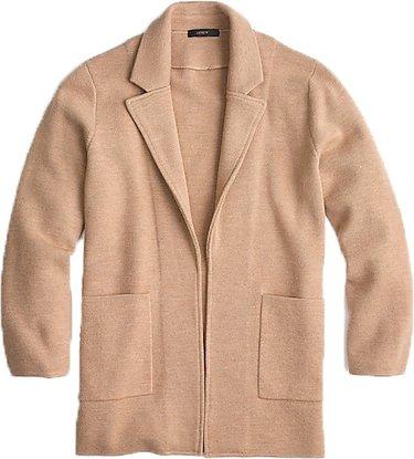 J.Crew  open-front sweater-blazer | 40plusstyle.com