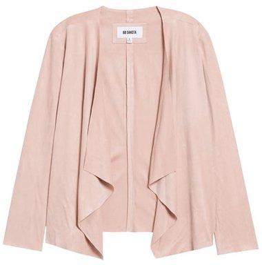 BB Dakota drape front faux suede jacket | 40plusstyle.com