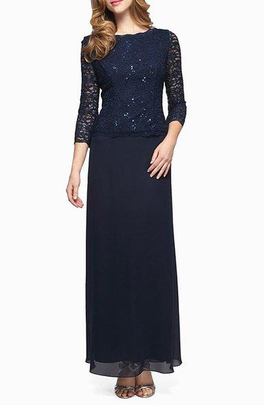 Mother of the bride dresses - Alex Evenings sequin lace & chiffon gown | 40plusstyle.com