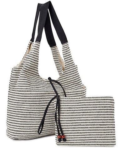 Time and Tru Beach Tote and Pouch, 2-Piece Set | 40plusstyle.com