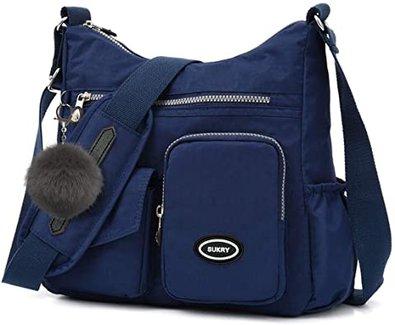 SUKRY nylon crossbody bag  with anti- theft RFID pocket   40plusstyle.com