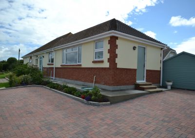 Side and rear elevation of completed single storey kitchen and dining room extension