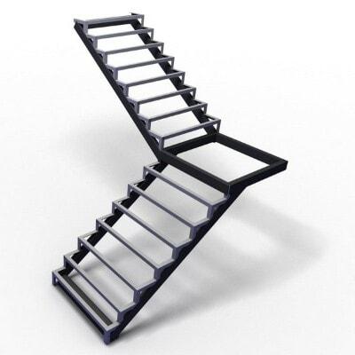 Каркас Г-образной лестницы с площадкой