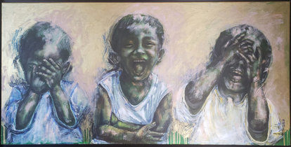 """Jamaican artist Krystle Sabdul's """"Boys Laughing"""" will be featured in """"The Island Imprint: The Art and History of the Caribbean Community in Broward County"""