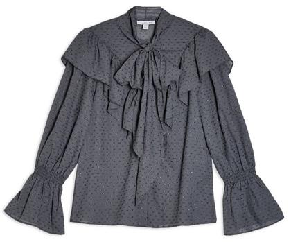 Topshop tie neck dobby blouse   40plusstyle.com