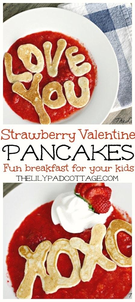 Strawberry Valentine Pancakes