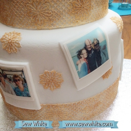 Polka Dot Birthday Cake decorated with polaroids