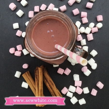 Raspberry Chocolate Cinnamon Milkshake surrounded by mini marshmallows and cinnamon sticks