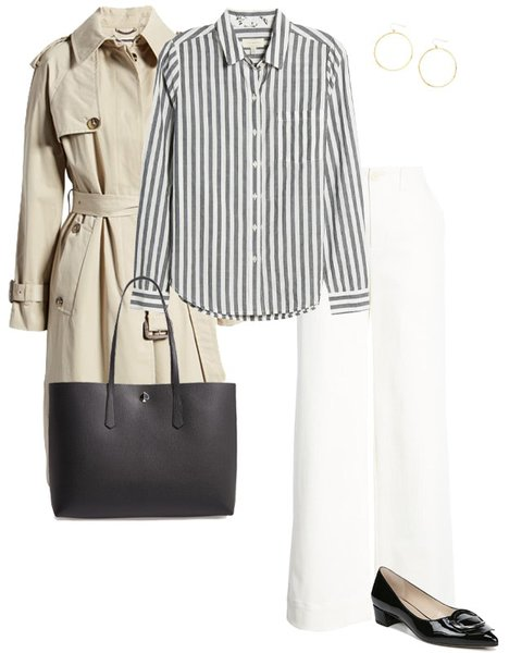 wearing a trench coat with stripes and jeans   40plusstyle.com