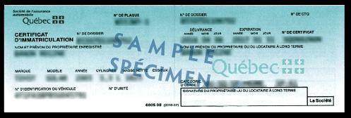 Spécimen de certificat d'immatriculation